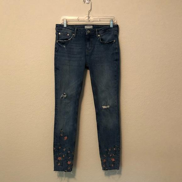 Zara Jeans Embroidery Floral Skinny Fit Raw Hem Premium Denim 6